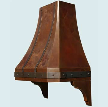 Custom Copper Range Hoods French Sweep 3001