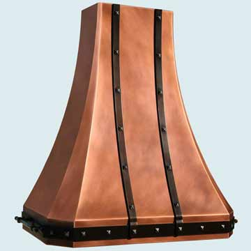 Custom Copper Range Hoods Tall French Sweep 4389