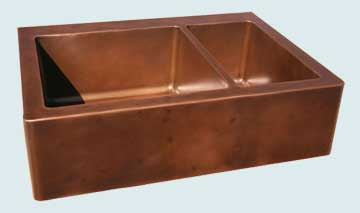 Kitchen Sinks - Copper Kitchen Sinks- Custom Farmhouse Sinks Copper Kitchen Sinks - Drop In With Distressed Apron & Deck # 2821
