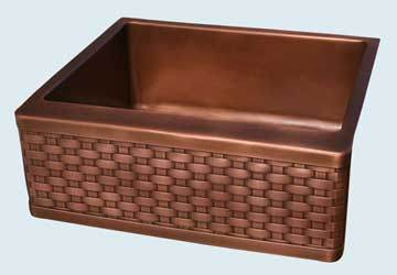 Kitchen Sinks - Copper Kitchen Sinks- Woven Aprons Copper Kitchen Sinks - Woven Apron On Prep Sink # 2822