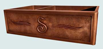 Kitchen Sinks - Copper Kitchen Sinks- Repousse Aprons Copper Kitchen Sinks - S Initial with Parallel Scrolls # 2830