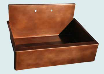 Kitchen Sinks - Copper Kitchen Sinks- Backsplashes Copper Kitchen Sinks - Flush Back Splash W Apron  # 2831