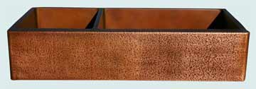 Kitchen Sinks - Copper Kitchen Sinks- Extra Large Sinks Copper Kitchen Sinks - Large Double Hammered Apron, Offset Bowls # 2832