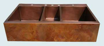 Kitchen Sinks - Copper Kitchen Sinks- Old World Patinas Copper Kitchen Sinks - Triple Undermount, Apricot Brandy Old World # 2834