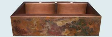 Kitchen Sinks - Copper Kitchen Sinks- Old World Patinas Copper Kitchen Sinks - Lori's Bold Old World Apron, Drop-In # 2840