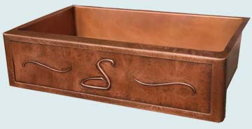 Kitchen Sinks - Copper Kitchen Sinks- Repousse Aprons Copper Kitchen Sinks - Ray's Hammered Frame With S Initial # 2844