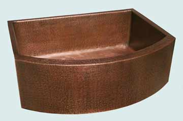 Kitchen Sinks - Copper Kitchen Sinks- Curved Aprons Copper Kitchen Sinks - Hammered Single With Curved Apron # 2850