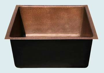 Bar Sinks - Copper Bar Sinks- Bar & Prep Sinks Copper Bar Sinks - Random Hammered Interior # 2851