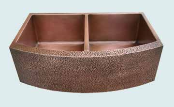 Kitchen Sinks - Copper Kitchen Sinks- Curved Aprons Copper Kitchen Sinks - Curved & Hammered Apron, 2 Bowls # 2924