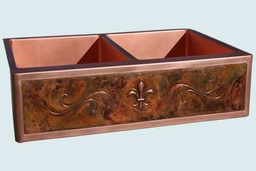 Kitchen Sinks - Copper Kitchen Sinks- Repousse Aprons Copper Kitchen Sinks - Fleur-De-Lis and Lori's Bold Old World Patina # 2969