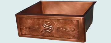 Kitchen Sinks - Copper Kitchen Sinks- Repousse Aprons Copper Kitchen Sinks - Old English S Initial # 2979