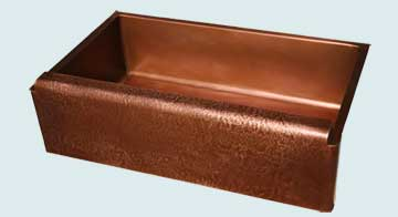 Kitchen Sinks - Copper Kitchen Sinks- Custom Farmhouse Sinks Copper Kitchen Sinks - Raised Apron With Reverse Hammering # 3014