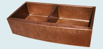 Kitchen Sinks - Copper Kitchen Sinks- Curved Aprons Copper Kitchen Sinks - Ray's Famous Hammering, Curved Apron # 3018