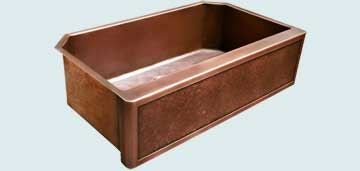 Kitchen Sinks - Copper Kitchen Sinks- Special Aprons Copper Kitchen Sinks - Framed Apron,Ray's Famous Hammering,Angled Corners # 3837