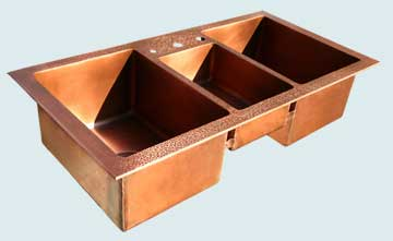 Kitchen Sinks - Copper Kitchen Sinks- Custom Kitchen Sinks Copper Kitchen Sinks - 3 Compartment Drop-In, Hammered Deck # 3839