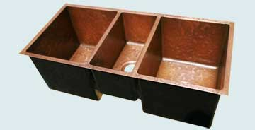 Kitchen Sinks - Copper Kitchen Sinks- Custom Kitchen Sinks Copper Kitchen Sinks - 3 Compartment With Ray's Famous Hammering # 3841