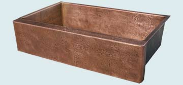 Kitchen Sinks - Copper Kitchen Sinks- Custom Farmhouse Sinks Copper Kitchen Sinks - Reverse Hammered Sink & Apron # 3375