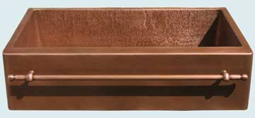 Kitchen Sinks - Copper Kitchen Sinks- Towel Bars Copper Kitchen Sinks - Towel Bar & Random Hammered Sink # 3672