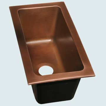 "Kitchen Sinks - Copper Kitchen Sinks- Trough Sinks Copper Kitchen Sinks - 21"" Drop-In Trough # 3680"