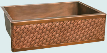 Kitchen Sinks - Copper Kitchen Sinks- Woven Aprons Copper Kitchen Sinks - Diagonal Weave Apron # 3463