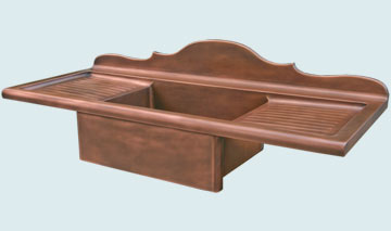 Kitchen Sinks - Copper Kitchen Sinks- Backsplashes Copper Kitchen Sinks - French Scroll Splash,2 Drainboards # 3513