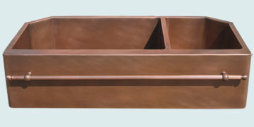 Kitchen Sinks - Copper Kitchen Sinks- Towel Bars Copper Kitchen Sinks - Notched Back Corners W Towelbar # 3527