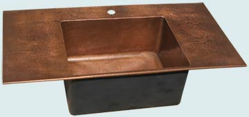 Kitchen Sinks - Copper Kitchen Sinks- Custom Kitchen Sinks Copper Kitchen Sinks - Drop-In Hammered Prep Sink # 3547
