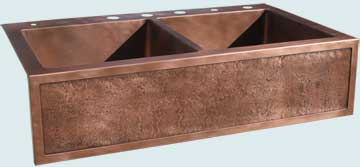 Kitchen Sinks - Copper Kitchen Sinks- Special Aprons Copper Kitchen Sinks - Framed Apron,Reverse Hammered,Drop-In Style  # 3557