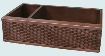 Kitchen Sinks - Copper Kitchen Sinks- Woven Aprons Copper Kitchen Sinks - Double Bowl W/ Veggie Sink # 3633