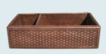 Kitchen Sinks - Copper Kitchen Sinks- Woven Aprons Copper Kitchen Sinks - Standard Weave, Reverse Hammered Bowls # 3638