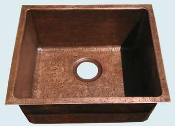 Bar Sinks - Copper Bar Sinks- Bar & Prep Sinks Copper Bar Sinks - Reverse Hammered Interior # 3639