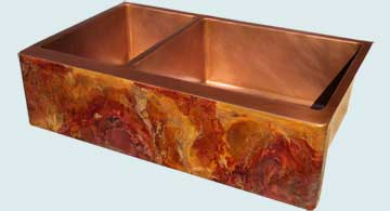 Kitchen Sinks - Copper Kitchen Sinks- Old World Patinas Copper Kitchen Sinks - Crackling Fire Old World On Double Sink # 4193