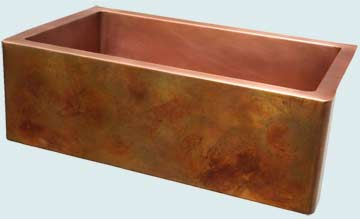 Kitchen Sinks - Copper Kitchen Sinks- Old World Patinas Copper Kitchen Sinks - Eva's Favorite Old World Patina On Apron # 4194