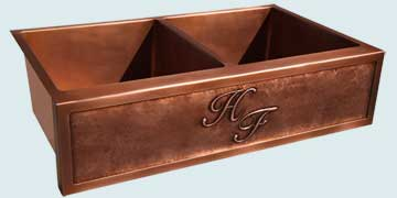 Kitchen Sinks - Copper Kitchen Sinks- Repousse Aprons Copper Kitchen Sinks - 2-Initial H & F Repousse # 4215