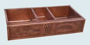 "Kitchen Sinks - Copper Kitchen Sinks- Repousse Aprons Copper Kitchen Sinks - Triple Bowl With ""W"" Initial # 4349"