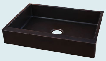 Kitchen Sinks - Copper Kitchen Sinks- Custom Farmhouse Sinks Copper Kitchen Sinks - Shallow Bowl With Midnight Antique # 4419