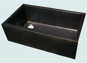 Kitchen Sinks - Bronze Kitchen Sinks- Custom Farmhouse Sinks Bronze Kitchen Sinks - Square Apron Left Drain # 4437