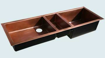 Kitchen Sinks - Copper Kitchen Sinks- Extra Large Sinks Copper Kitchen Sinks - Ultra Long Triple  # 4444