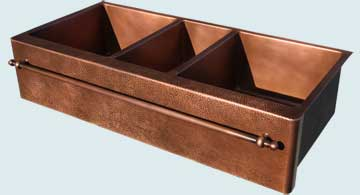 Kitchen Sinks - Copper Kitchen Sinks- Extra Large Sinks Copper Kitchen Sinks - 3 Compartment W/ Towel Bar & Hammered Apron # 4456