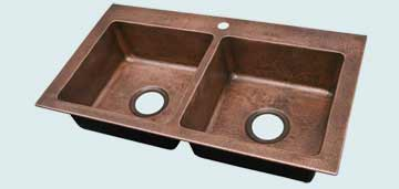 Kitchen Sinks - Copper Kitchen Sinks- Custom Kitchen Sinks Copper Kitchen Sinks - Reverse Hammered Bowls and Rim # 4462