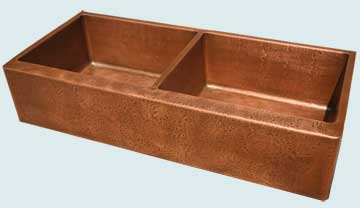 Kitchen Sinks - Copper Kitchen Sinks- Custom Farmhouse Sinks Copper Kitchen Sinks - Equal Bowls W/ Reverse Hammered & Medium Patina # 4583
