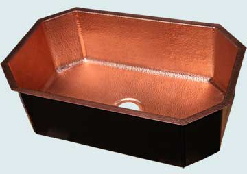Kitchen Sinks - Copper Kitchen Sinks- Custom Kitchen Sinks Copper Kitchen Sinks - Random Hammered Octagonal # 4614