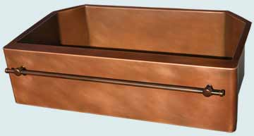 Kitchen Sinks - Copper Kitchen Sinks- Towel Bars Copper Kitchen Sinks - 2 Angled Corners & Towel Bar # 4661