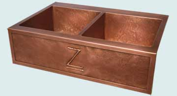 "Kitchen Sinks - Copper Kitchen Sinks- Repousse Aprons Copper Kitchen Sinks - ""Z"" Apron & Ray's Famous Hammering # 4706"