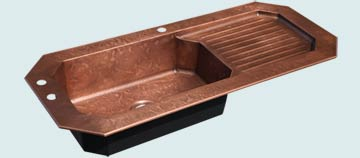 Kitchen Sinks - Copper Kitchen Sinks- Drainboards Copper Kitchen Sinks - Octagonal Bowl With Drainboard & Ray's Famous Hammering # 4707