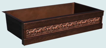 Kitchen Sinks - Copper Kitchen Sinks- Repousse Aprons Copper Kitchen Sinks - Running Horses & Dark Patina # 4974