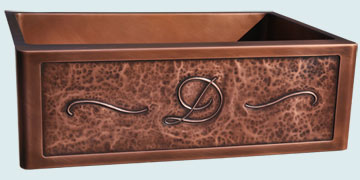 Kitchen Sinks - Copper Kitchen Sinks- Repousse Aprons Copper Kitchen Sinks - Repousse Apron & Smooth Interior # 4991