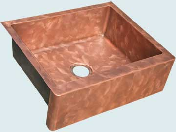 Kitchen Sinks - Copper Kitchen Sinks- Custom Farmhouse Sinks Copper Kitchen Sinks - Butterfly Finish & Apron # 5056