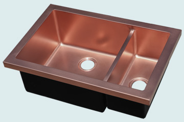 Kitchen Sinks - Copper Kitchen Sinks- Custom Kitchen Sinks Copper Kitchen Sinks - Flush Mount W/ Lowered Divider # 5077