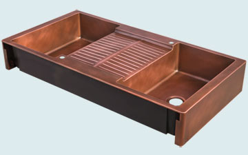 Kitchen Sinks - Copper Kitchen Sinks- Extra Large Sinks Copper Kitchen Sinks - Double Sided Island Sink # 5082